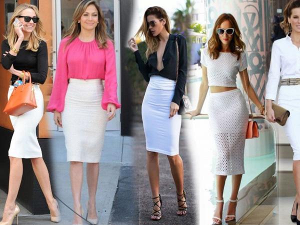 девушки в белых юбка-карандаш