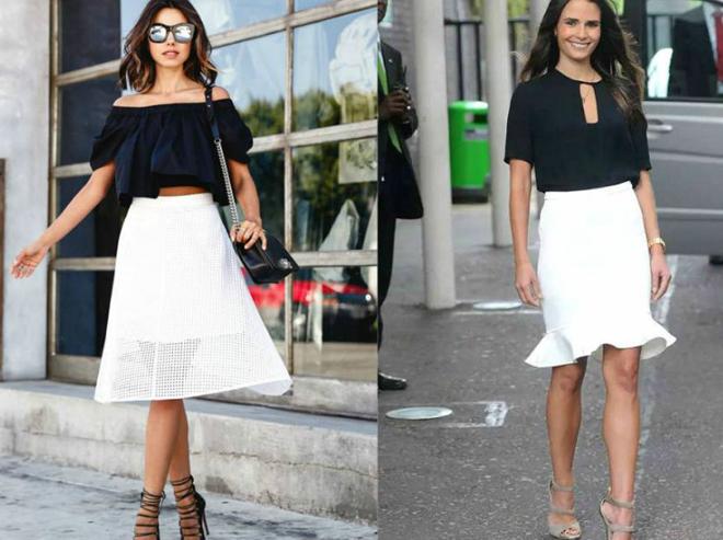 белая юбка с черным верхом