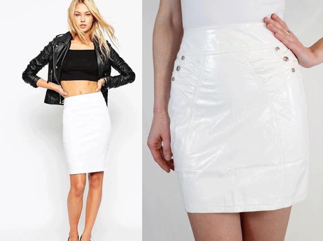 белая кожаная юбка