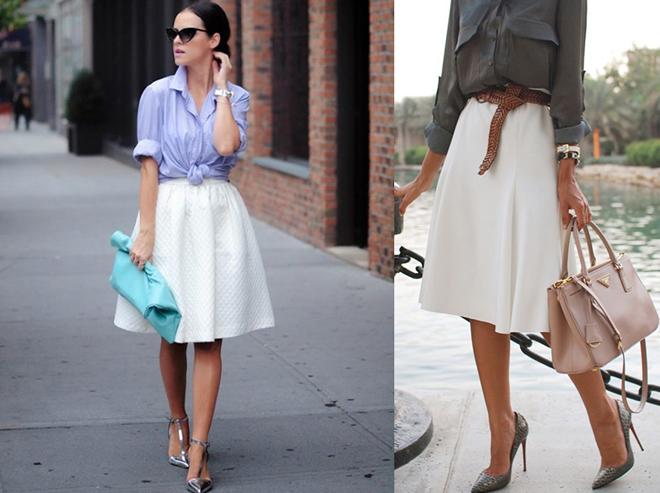 белая юбка в сочетании с высоким каблуком