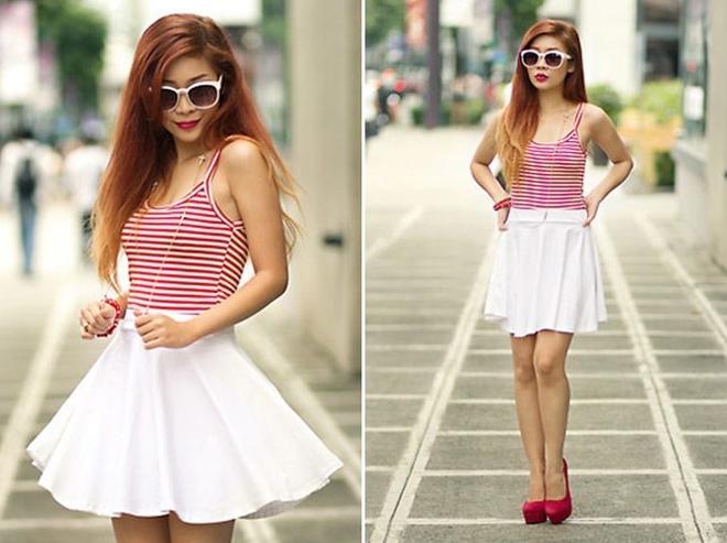 расклешенная белая юбка