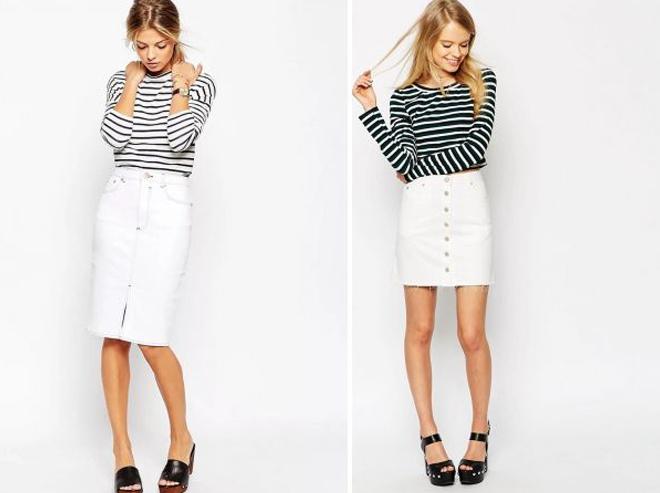 белая юбка с пуговицами