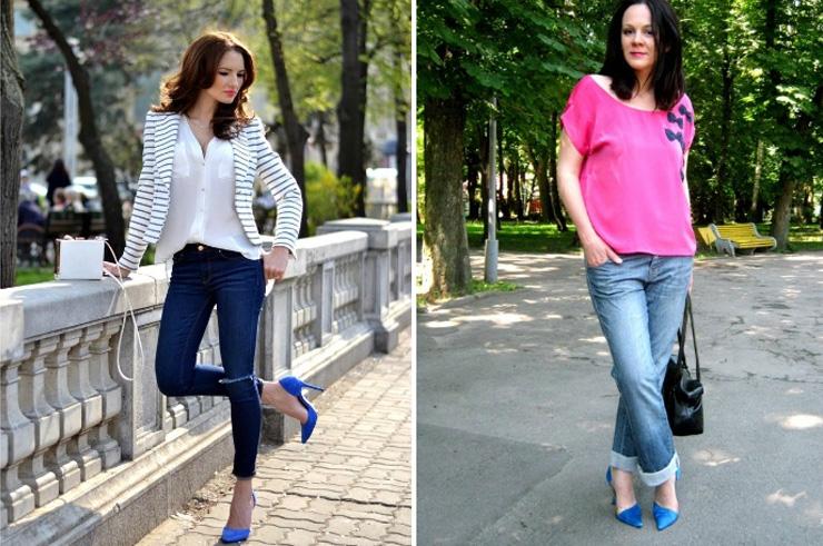 сочетание синих босоножек с джинсами
