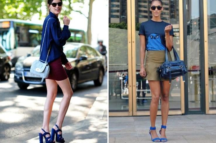 девушки в красивых синих босоножках