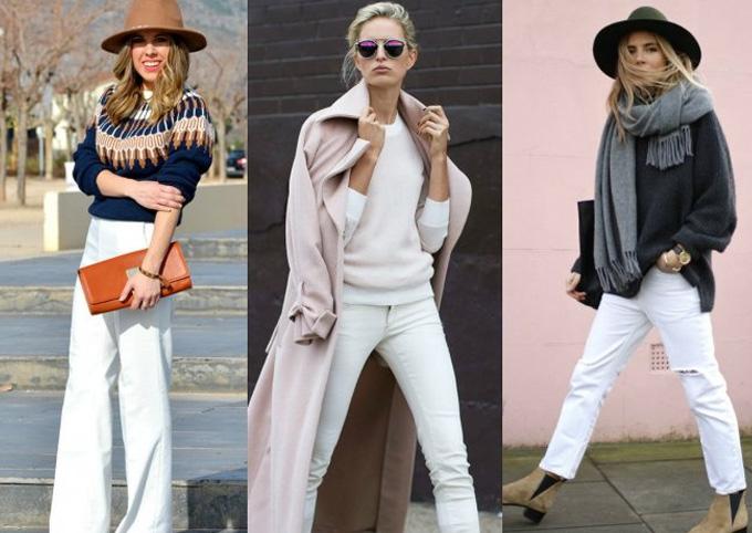 белые джинсы с теплым свитером