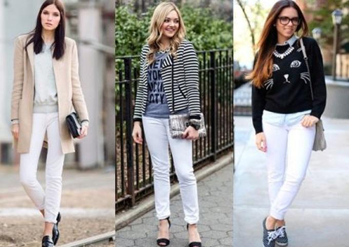 осенний вариант белых джинсов