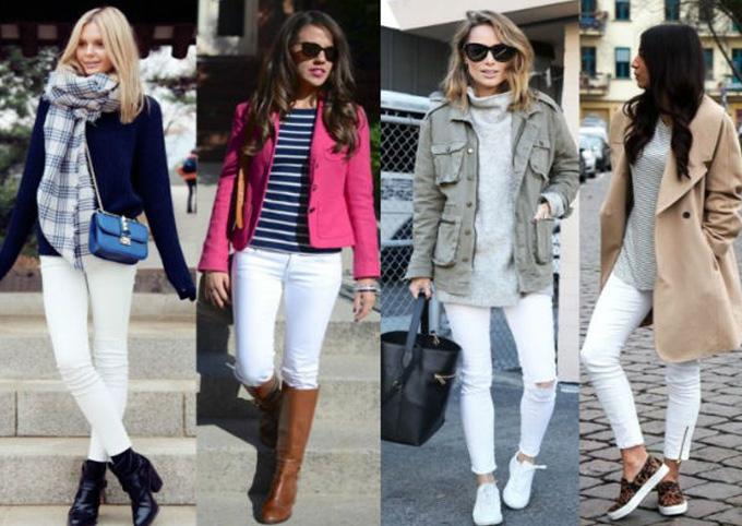 белые джинсы в сочетании с легким пиджаком