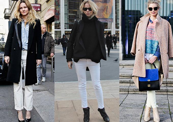 белые джинсы с черным пиджаком