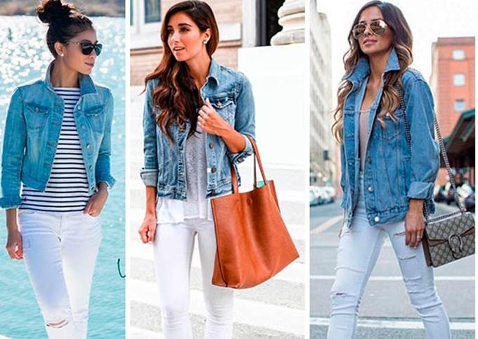 белые джинсы с синей джинсовой курткой