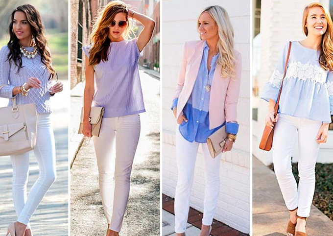 белые джинсы с цветными свитерами