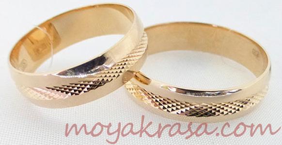 обручальные кольца с резьбой
