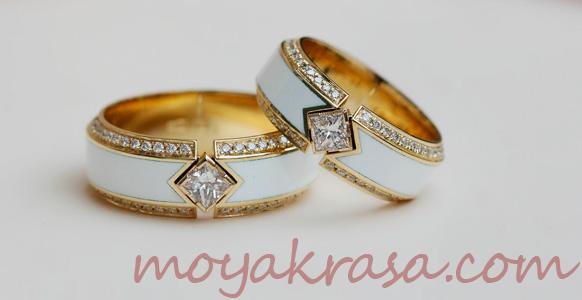 кольца с белой эмалью
