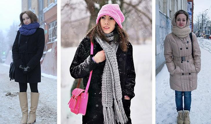 зимний вариант завязывания шарфа