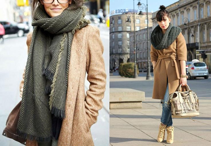 бежевое пальто с серым шарфом