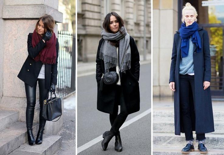 темные пальто с однотонными шарфами