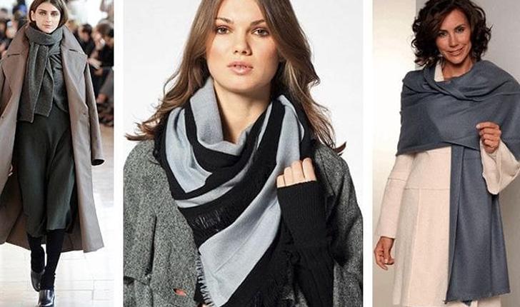 красиво завязанный серый шарф