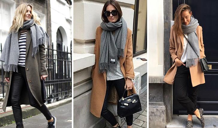 красиво повязанный шарф на пальто