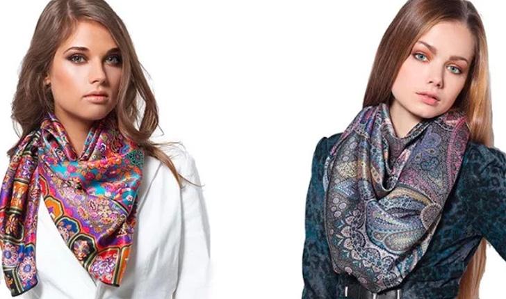 шелковый цветной шарф