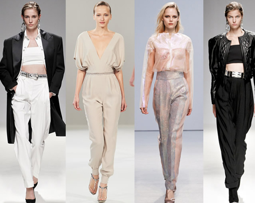 модели на подиуме демонстрируют женские брюки