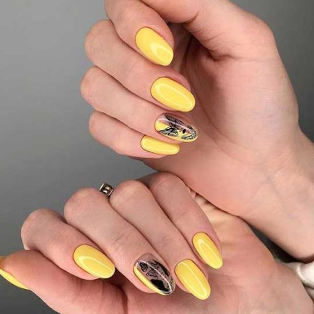 желтый гель-лак для летнего маникюра